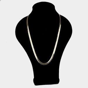 14K Gold Plated Herringbone Chain Metal Necklace